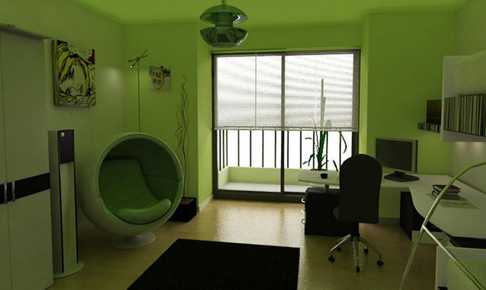рабочий кабинет в зеленом цвете