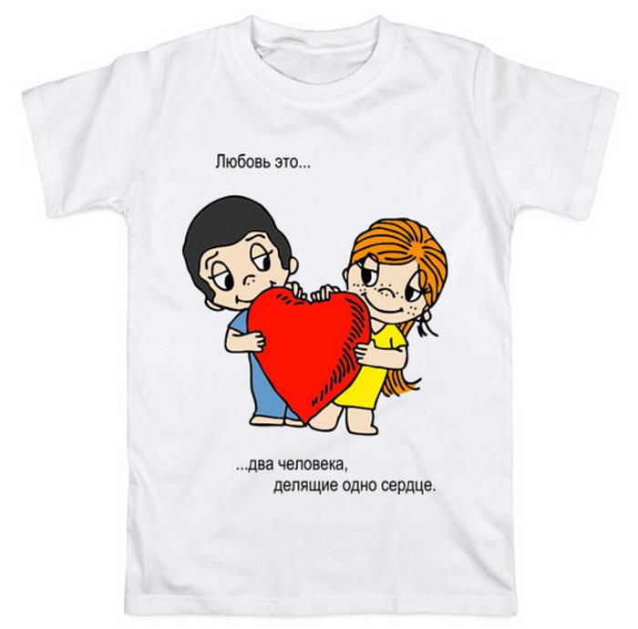 белая футболка с принтом сердце