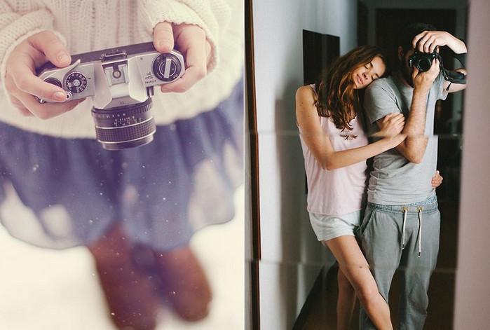 парень с девушкой фотографируются