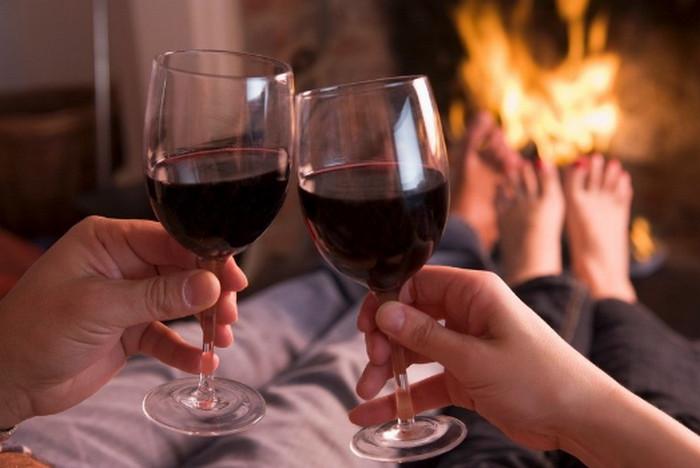 пара пьет вино у камина