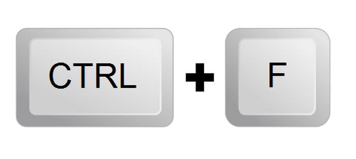 клавиши ctrl и f