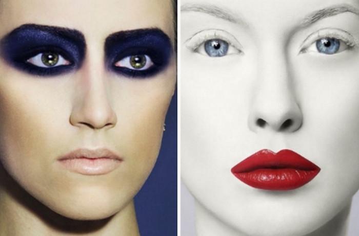 акцент в макияже на губы и глаза