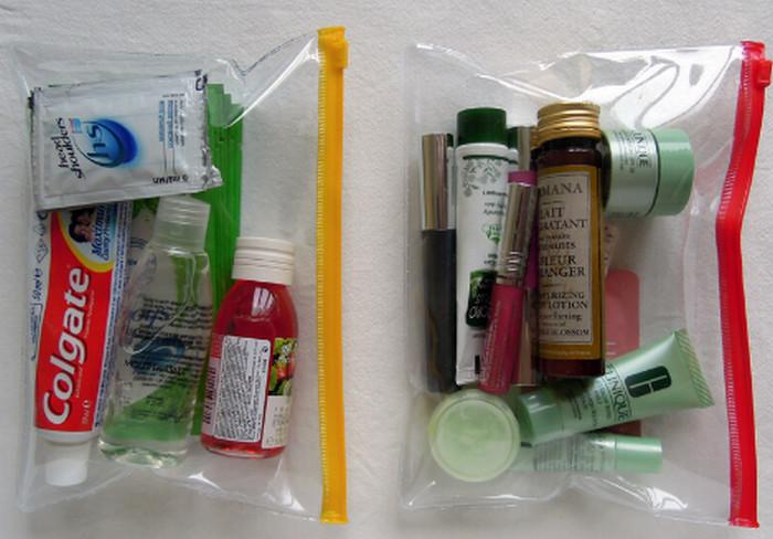косметика в пакетах с зип-локом