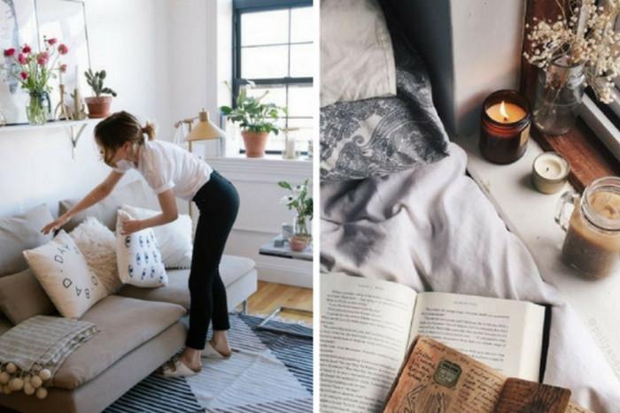 подушки и свечи в интерьере