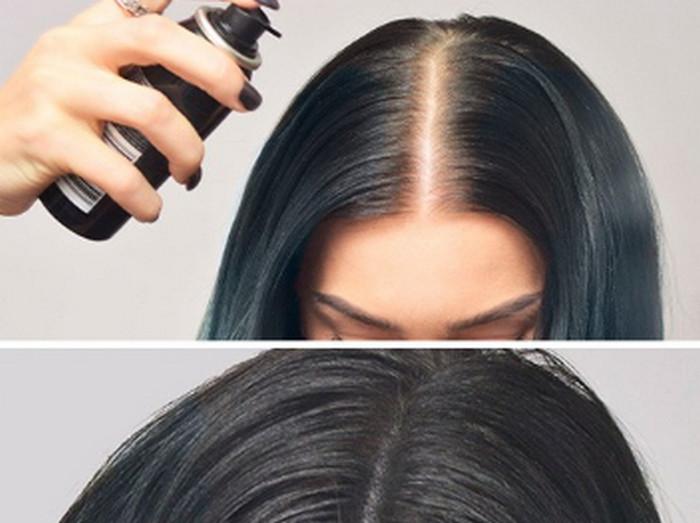 окрашивает корни волос спреем