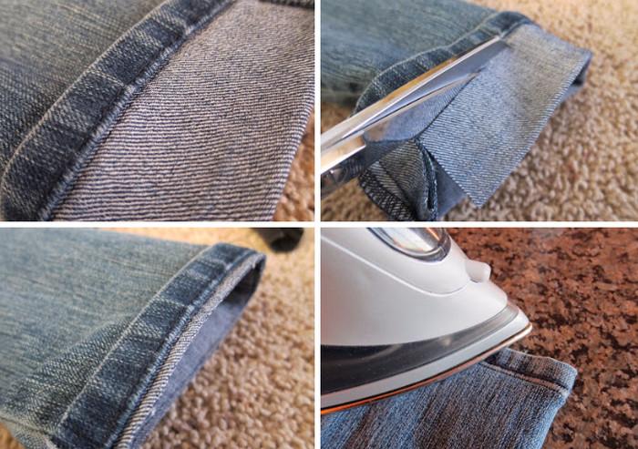 укорачивает джинсы