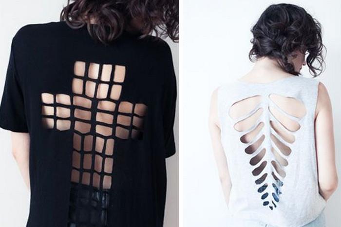 порезанная футболка