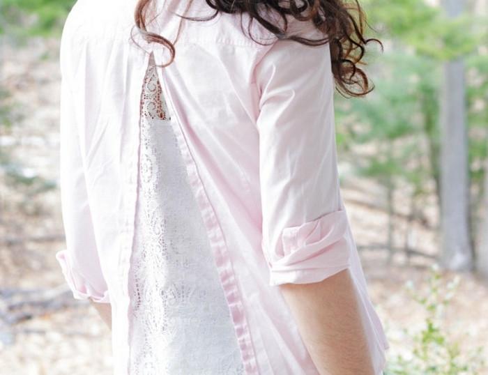вставки из кружева в блузке