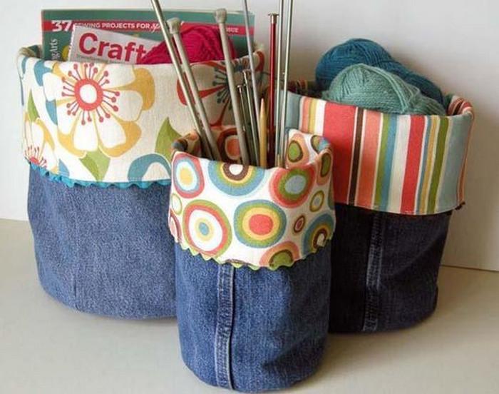 корзинки-мешки из джинс