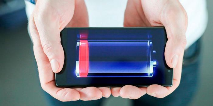 разряженная батарея в телефоне